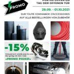 """Pendant nos """"Journées portes ouvertes"""", du 28 septembre au 1eroctobre 2021, vous bénéficiez d'une réduction de 15% sur toutes les commandes d'accessoires (code promo """"PROMO PO2021"""")."""